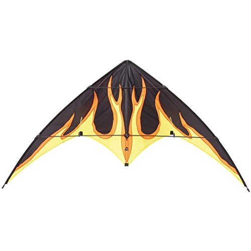 HQ Kites Bebop Series - Beginner Stunt Kite -  57 Inch Dual - Line Sport Kite,  Color: Black with Flames - Active Outdoor Fun for Ages 8 and Up - Perfect for Adults or Children