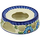 Polish Pottery Heater 7-inch Bold Blue Poppies UNIKAT
