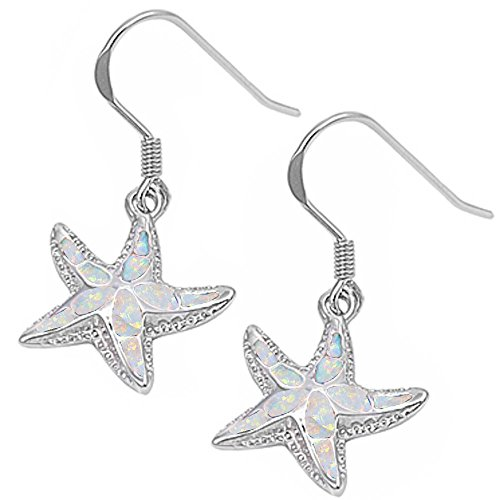 (Lab Created White Fire Opal Starfish .925 Sterling Silver Earrings)