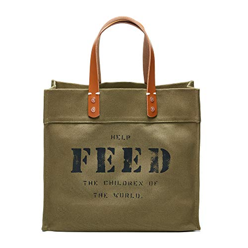 FEED Canvas Women's Market Tote with Leather Handles for Shopping Work Travel and School - Army Green (The Feed Bag)