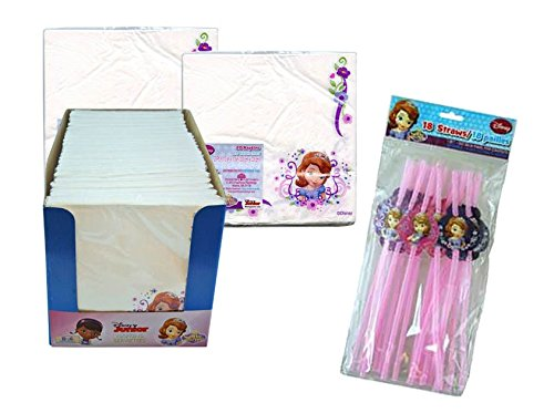 Disney Jr. Princess Sofia the First Party Themed Decor - (2) 20ct Lunch Napkins Plus Bonus 18ct Doc Character Souvenir Straws! (Souvenirs Princess Sofia)