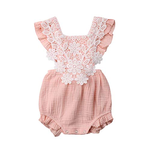 FUFUCAILLM Newborn Baby Romper Girls Floral Lace Tassel Cotton Outfit Ruffled Sleeveless Summer Clothes Bodysuit (Pink, 80/6-12M)