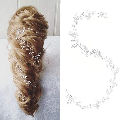 Yean Flower Silver Wedding Headband Leaf Bridal Hair Vine Halo for Women and Girls (Silver)