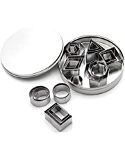 JYDirect 24 Pieces Cookie Cutter Set, Geometric Shapes Cutters Stainless Steel Fondant Cutters Including Hexagon, Square, Circle, Oval, Octagon, Molds for Pastry, Fondant, Donuts, Clay, for Kitchen, Baking