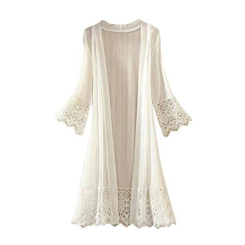 BAN LU Ladies Lace Cardigan Long Sleeve Trumpet Sleeves Trim Hem Stitching Beach Bikini Smock,X-Large,White -