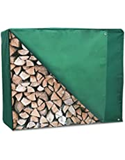 ART TO REAL 4 Feet Firewood Rack Cover with Zipper Outdoor Heavy Duty Waterproof Log Storage Rack Cover Dustproof All-weather Protective Rectangular Wood Storage Carriers Cover Green 48'' x 24'' x 42''