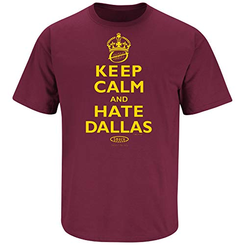(Washington Football Fans. Keep Calm and Hate Dallas Maroon T-Shirt (Sm-5X) (Short Sleeve, Large))