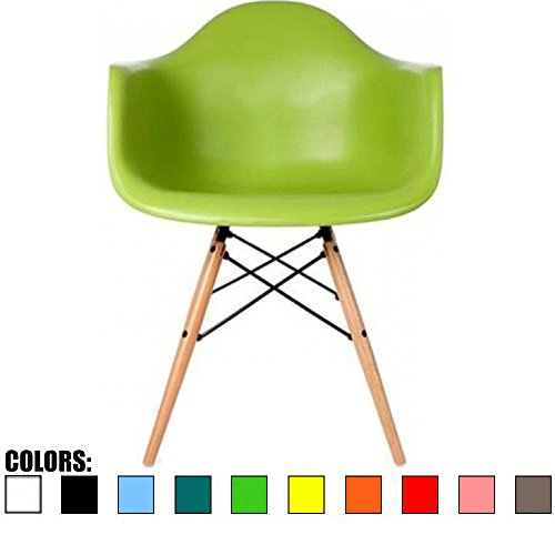 2xhome - Single (1) - Green - Eames Style Armchair - Natural Wooden Legs Dining Room Chair - Lounge Arm Arms Armed Chair Chairs Armchairs Seat Wood Dowel Leg Legged Base