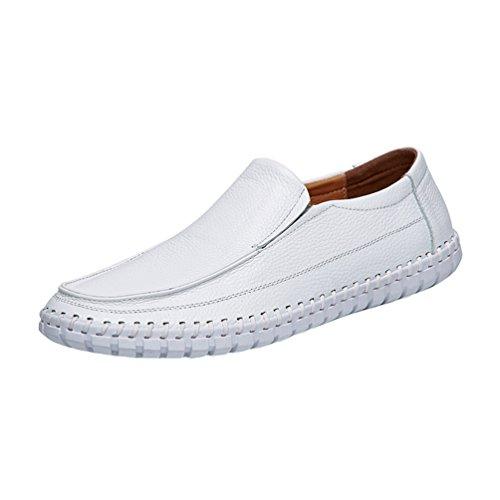 Scivolare Dooxi Scarpe Elegante Barca Pelle Mocassini da Casuale Bianco Scarpe Loafers Uomo Sintetica 00Aqwfp