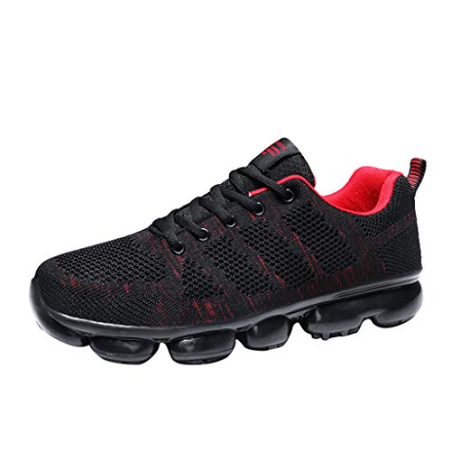 Bralonees Men's Fly Knit Breathable Full Air Cushion Insoles Sneakers Shoes Running Lightweight Non-Slip Sport Outdoors Red