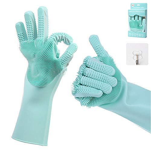 Hatsutec Magic Silicone Dishwashing Gloves with Scrubber, Double-Sided Heat Resistant Latex-Free Cleaning Gloves for Dish Washing, Cooking, Kitchen & Household Cleaning 1 Pair (Green)