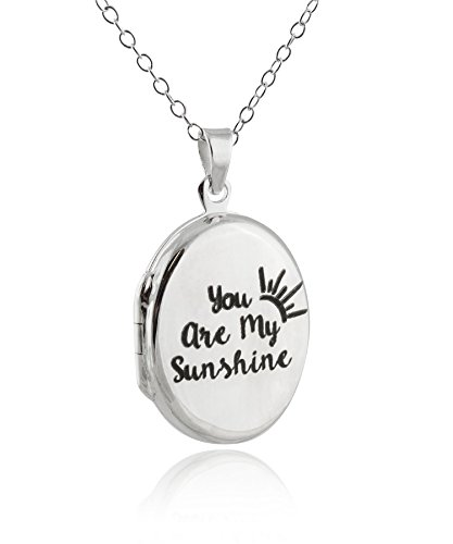 FashionJunkie4Life Sterling Silver You Are My Sunshine My Only Sunshine Engraved Double Sided Locket Necklace, 18'' Chain by FashionJunkie4Life