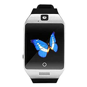 Q18 Bluetooth Smart Watch GSM Camera TF Card for android IOS alarm Clock Gifts Silver