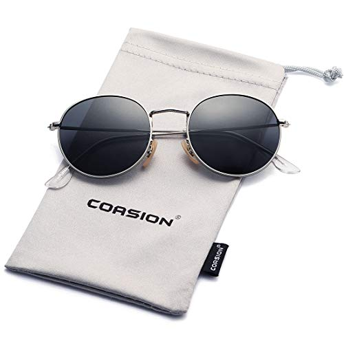 COASION Round Women Sunglasses Polarized Mirror Lens Super Light Metal Frame Sun Glasses 3447 (Silver Frame/Grey Lens) ()