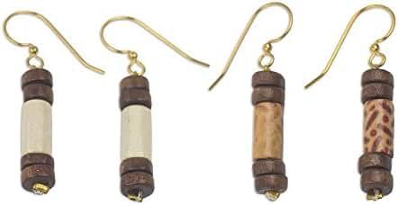 NOVICA Wood Beaded Earrings 'Natural Simplicity'