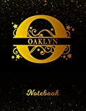 Oaklyn Notebook: Letter O Personalized First Name Personal Writing Notepad Journal | Black Gold Glittery Pattern Effect Cover | Wide Ruled Lined Paper ... Taking | Write about your Life & Interests