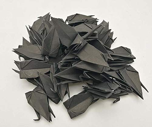 100 Origami Paper Crane Black 3x3 inch Origami crane Folded