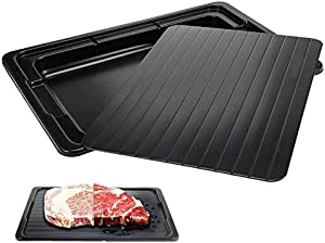 Folgtek Defrosting Tray Aluminum Thaw Board with Drip Tray, Eco-friendly Rapid Defroster, Silicone Brush No Electricity Defrost Plate Thaw Plate,Black
