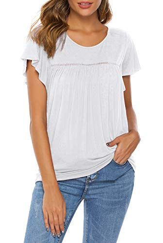 (THANTH Womens Short Sleeve Ruffle Round Neck Pleated Loose Casual Tops Blouses Tees Shirts White S)