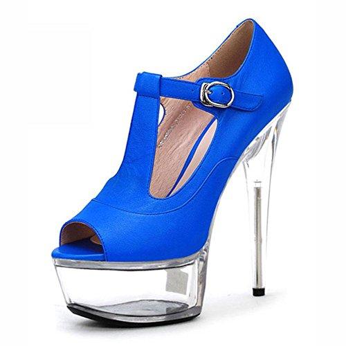 La Hauts Plateforme MariéE L Talons De YC En éTanche Sandales 15cm Cristal De à Ultra éPaisse Chaussures Femme blue wTTz0Pqr