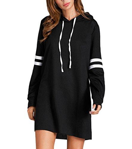 Las Mujeres Sudaderas Vestidos Con Capucha Cortos Deporte Vestido Rayas Elegantes Sweatshirt Encapuchado Vestir De Manga Larga Casual Otoño Invierno Casual Sport Informales Señoras Dress Mini Negro