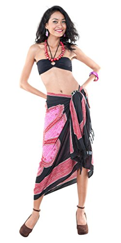 negro Lotus mujer ba Traje de Sarong o floral estampado rosa para con 1qwAPzX4P