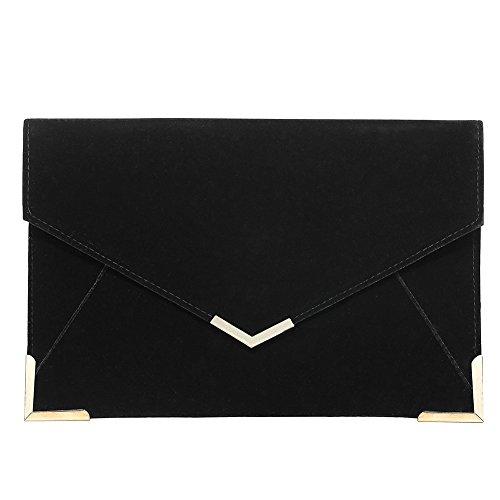 Stjubileens Ladies Envelope Clutch Evening Wedding Prom Party Suede Velvet Handbag Purse (Black)