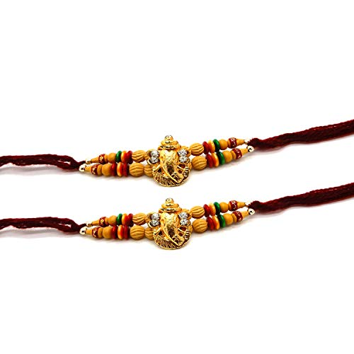 Khandekar (with device of K) Set of Two, Ganesh Design, Rakhi thread, Raksha bandhan Gift for your Brother, Vary Color And Multi Design by Khandekar (with device of K)