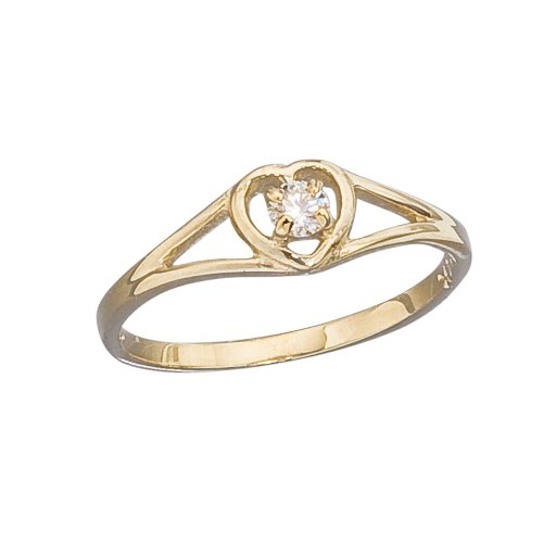 Gold Diamond Open Heart (14k Gold Open Heart with Genuine Diamond Girls Ring size 3)