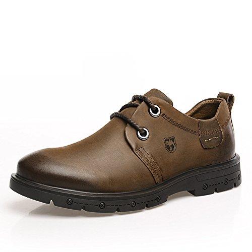 DeLamode Men Camel Logo Genuine Leather Casual Bright Flat Bottom Shoes Business (2 Man Camel Costume)