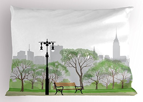 Central Scene Park - Printawe New York Pillow Sham, Central Park Scene with Bench and Trees Skyscraper Silhouettes American Landscape, Decorative Standard Size Printed Pillowcase, 26 X 20 inches, Multicolor