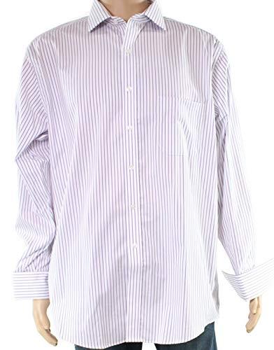 Tasso Elba Men's Regular Fit Non-Iron Stripe French Cuff Dress Shirt (Lavender/White, 16.5