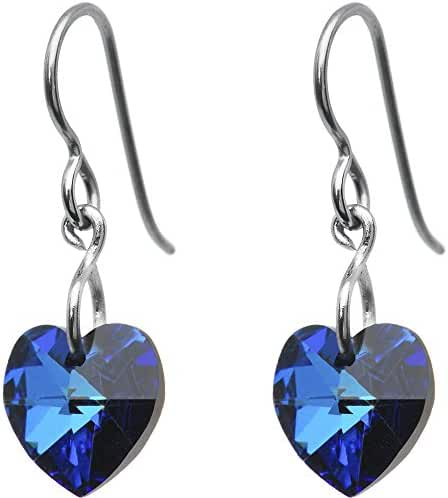 Solid Titanium Green Heart Earrings Created with Swarovski Crystals