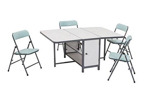COSCO Kids 5pc Fold-n-Store Set, 4 Chairs, 1 Table, White Woodgrain, Teal Blue Chairs, Charcoal Gray Frame