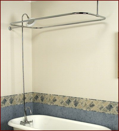 Brass Add-on Shower Set for Clawfoot Tub - Gooseneck Faucet, Riser, and Shower Rod (Riser Set Shower)
