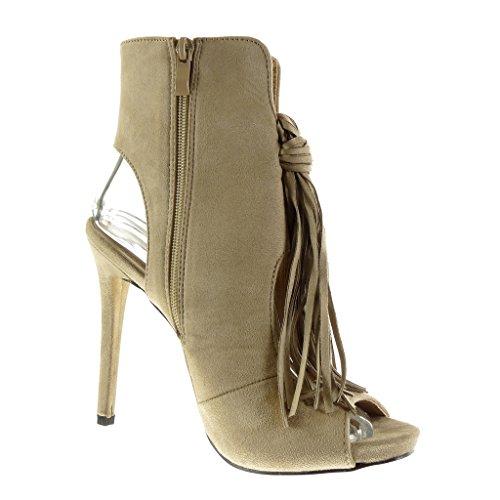 Angkorly - Scarpe da Moda Stivaletti - Scarponcini stiletto Peep-Toe sexy donna frange pon pon Tacco Stiletto tacco alto 12.5 CM - Beige