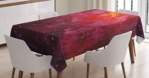 Outer Space Tablecloth By Ambesonne  Cosmos Milky Way Galaxy Abstract Stardust In Watercolor Design  Dining Room Kitchen Rectangular Table Cover  60 W X 90 L Inches  Lavander Orange Mustard