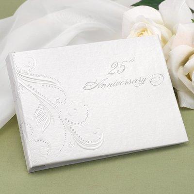 Hortense B. Hewitt Wedding Accessories 25th Anniversary Swirl Dots Guest Book, White ()
