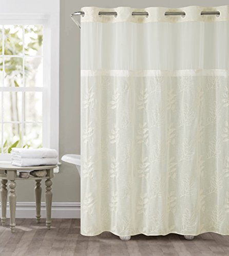 Hookless RBH32MY127 Palm Leaves Embroidery Shower Curtain with PEVA - Ivory