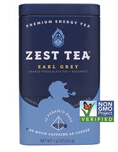 Zest Tea - Earl Grey Black High Caffeine Energy Tea, 15 Count Tea Sachets - Bergamot and Nilgiri Indian Black Tea in Premium Pyramid Bags