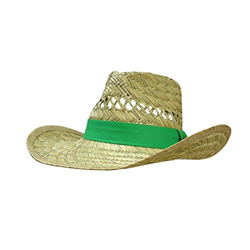 John Deere Brand Green Straw Hat with Neck Strap