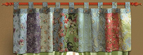 Greenland Home Fashions Blooming Prairie Patchwork Tab Top Valance 84