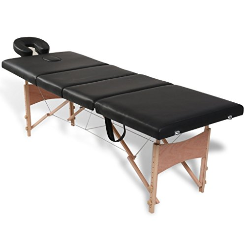 Daonanba Comfortable Black Foldable Massage Table 4 Zones with Wooden Frame Salon Table Spa Table