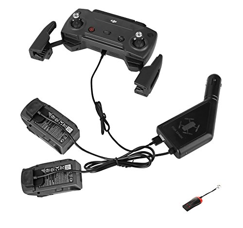 Luckybird 3 Channel Car Charger for DJI Spark with 2 Battery Charging Port & 1 Remote Controller USB Charging Port, DJI Spark Accessory,with Luckybird USB Reader 1pc