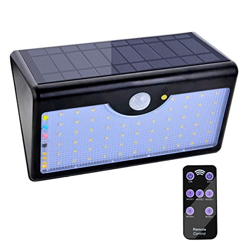 Solar Motion Sensor Lights Security Lights with Remote Control 60 LED Wireless Waterproof Outdoor Wall Lights with 120 Degree Wide Angle for Garden Patio Pathway Yard Driveway