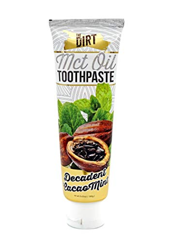 The Dirt Coconut Oil Toothpaste, All Natural with Essential Oils, MCT Oil, Fluoride Free, Cacao Mint, Ten Week Supply 72g