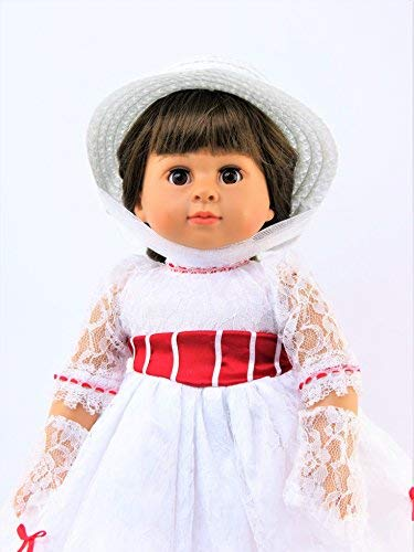 Umbrella /& Hat for 18 Inch Dolls #383 American Fashion World Includes Dress Mary Poppins Inspired Dress Lace Gloves