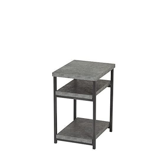 Household Essentials Side Table | End Table with Shelf for Storage | Faux Slate Concrete - LOW SIDE TABLE with 3 open storage shelves with concrete like appearance WOODEN SHELVES looks like concrete but is lightweight MINIMALIST DESIGN with clean lines and small footprint - living-room-furniture, living-room, end-tables - 4143%2BhFuK4L. SS570  -