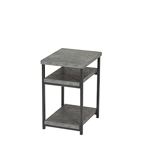 (Household Essentials 8097-1 Side Table | End Table with Shelf for Storage | Faux Slate Concrete)