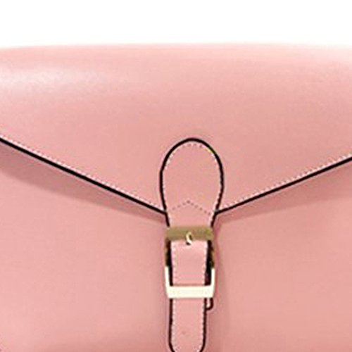 TOOGOO(R) Bolso Retro De Cuero PU Para Mujer Rojo Rosa